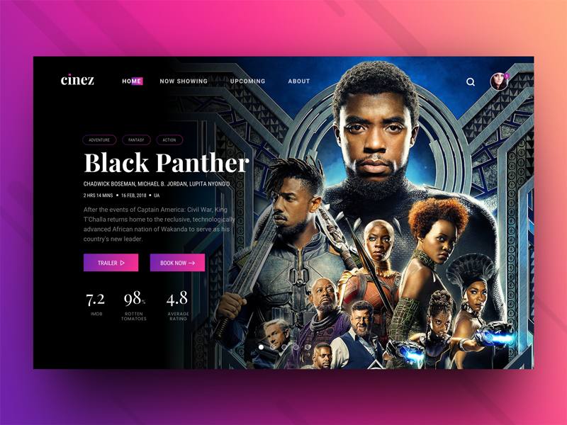 Cinez - Movie Ticket Booking Header Concept gradient flat dark header web website ticket cinez movie cinema black panther