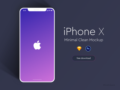 iPhoneX Minimal Clean Mockup - Freebie