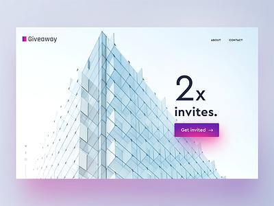 2x Dribbble Invites flat dribbble clean minimal landing page web ux ui giveaway invite