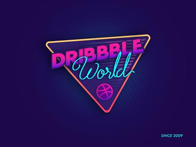Dribbble World Retro Sticker dribbble badge patch typography illustration retro sticker stickermule