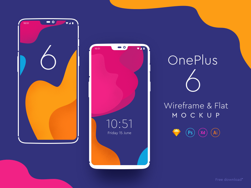 Free One Plus 6 Mockups iphonex wireframe flat freebies mockup one plus 6 oneplus dribbble