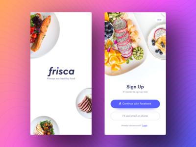 Signup & Login  - Frisca app ui ios iphonex minimal clean register login signup app