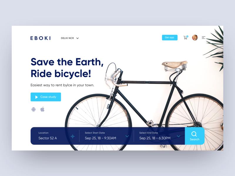 Eboki - Rent bicycle web UI clean rent bicycle ui web bicycle app webdesign minimal
