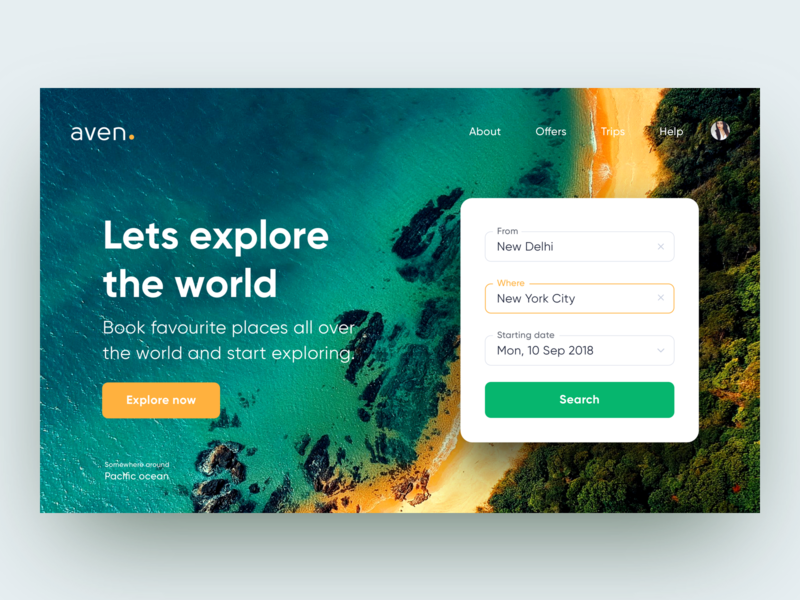 Aven - Book holiday UI travel app web search booking app ui minimal holiday clean