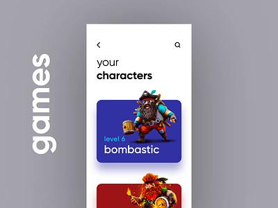 Game Characters UI aep mobile app design interaction minimal daily ui ux ui ios character game app game