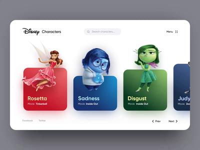 Disney Characters Web UI cartoon character disney daily ui web design interaction ux ui