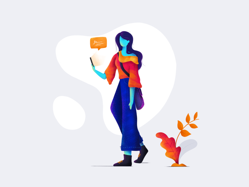 Waiting colorful art landing page modern art uihues chat waiting illustration procreate girl color