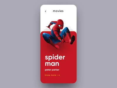 Marvel Movies Interaction marvel interactions cards motion ux design ui ios ironman spider man marvel movie interaction animation after effects