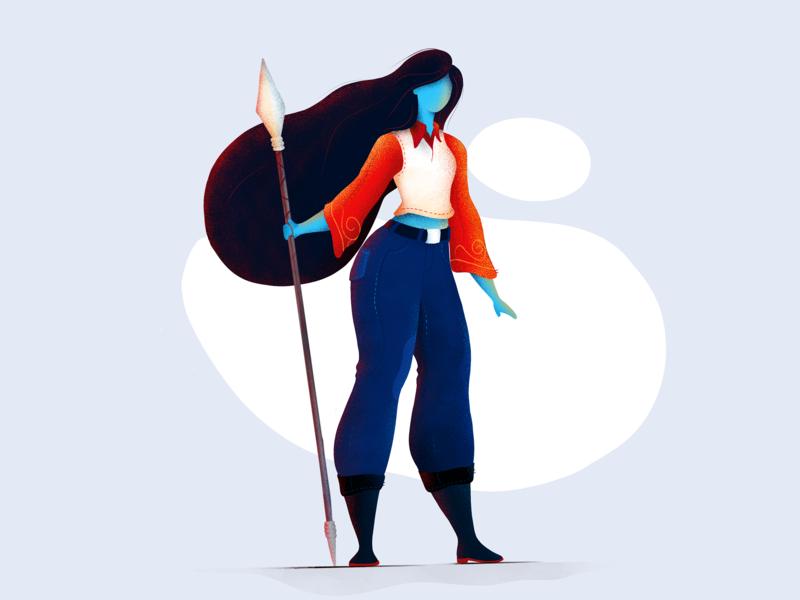 Warrior Girl sword noise brush illustration procreate girl warrior