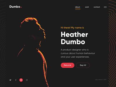 Dumbo Portfolio UI resume daily ui dark ui landing page clean minimal portfolio uihues ui