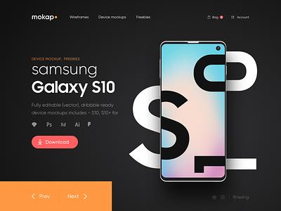 Mokap - Freebies Samsung S10 Mockups web deisgn landing page galaxy s10 minimal mockup freebies mockup samsung