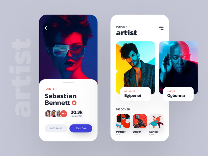 Artist listing app design cards message profile clean figma iphonex artist freebies app
