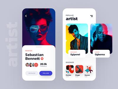 Artist listing app design cards message profile clean figma iphonex artist freebies app