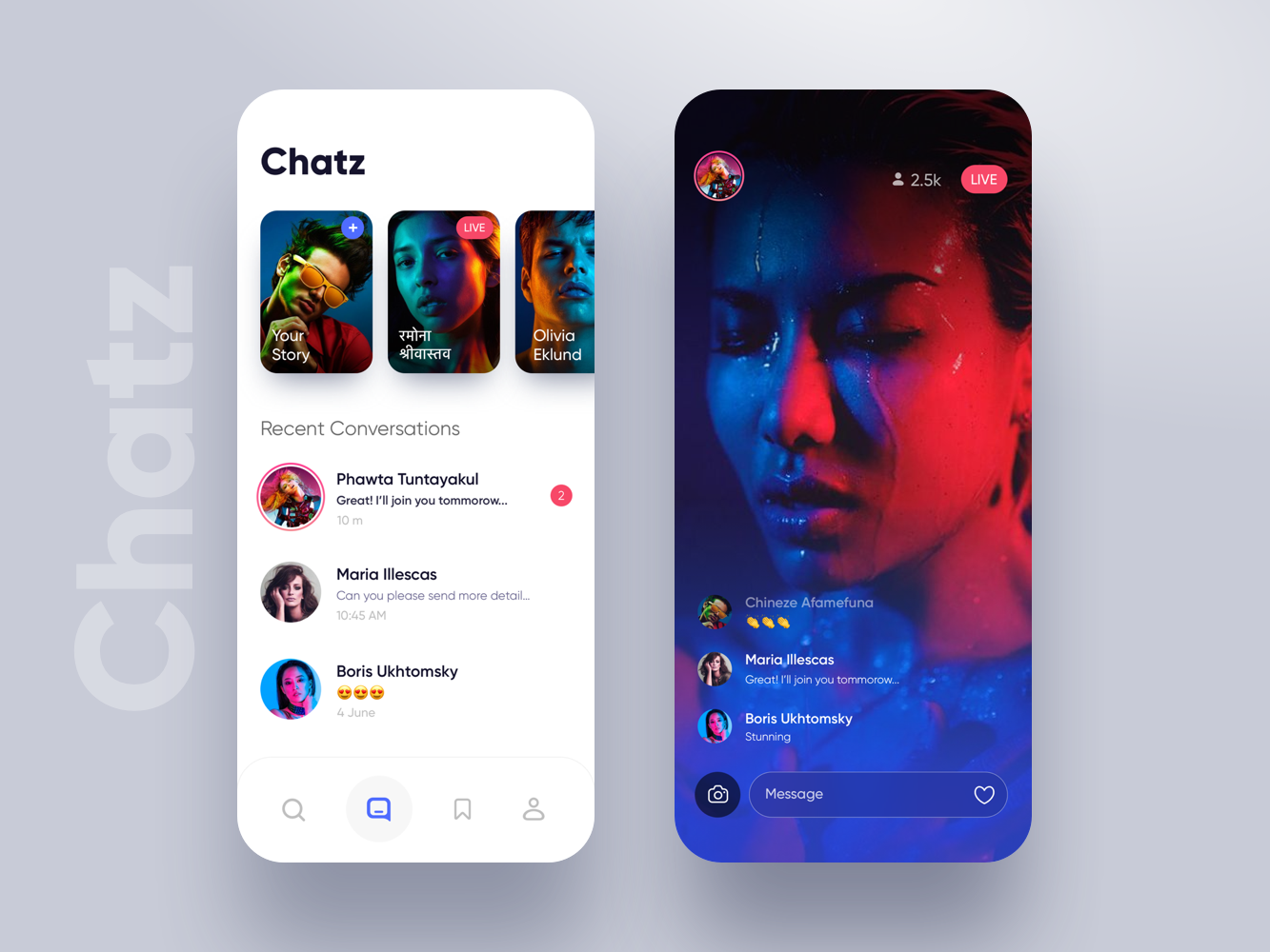 Chatz app UI message app chat app message story minimal app ux ui ios iphone chat