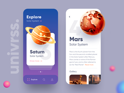 Explore Universe App UI swipe cards saturn solar system glaxey space earth mars solar planet explore design clean app ios ui ux daily flat minimal