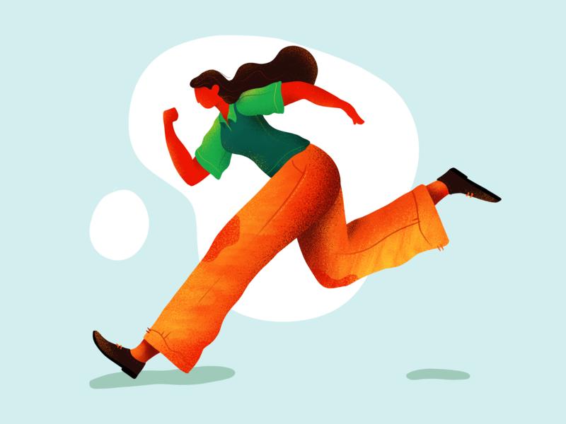Running Girl #9 walk summer noise shadow girl illustration green illustration ipad pro texture running procreate girl