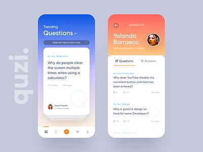 Quzi  - Question Answer App Ui design ux ios ui swipe answer question gradient card clean app