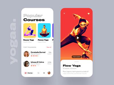 Yogaa app ui figma ios video iphonex class ux ui clean app card course yoga iphone