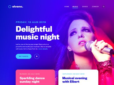 Elveno - Web UI ux ui web design music card web app portfolio ticket event landing page web