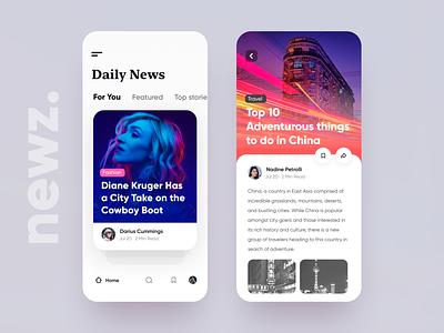 Newz - App UI iphone x blog color minimal design swipe news cards app ios ui daily