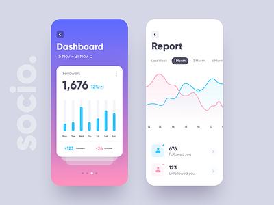 Socio - Dashboard UI data visualization data chart iphonex report social dashboard card design app ios ui minimal