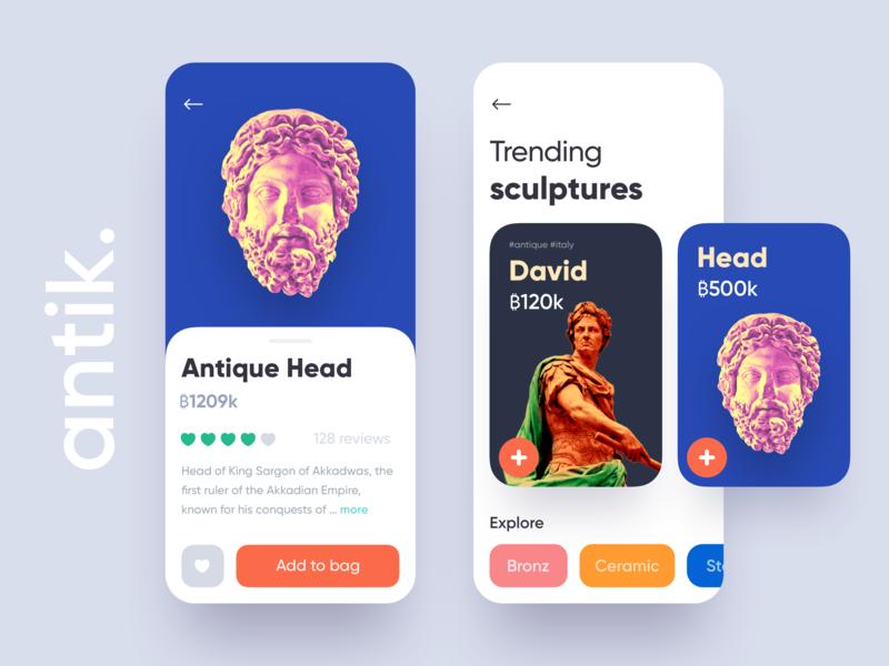 Antik - Sculpture app ui design bid buy ux ui app card sculpture listing ios