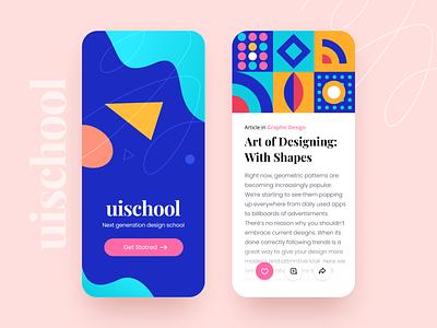 UISchool - app UI blue abstract pattern school blog card color flat daily ui design ios minimal