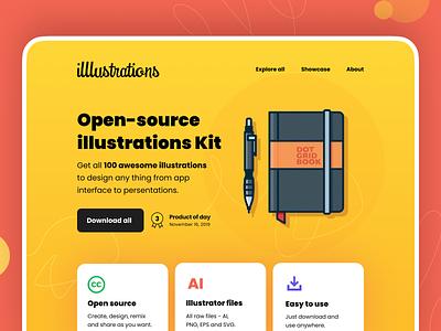 illlustrations - open source illustration library opensource freebies illustrator illlustrations branding logo flat 100days vector design illustration daily lineart minimal