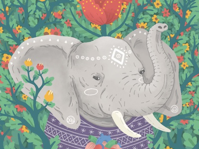 Happy Dream animals illustration zamirbermeo elephant