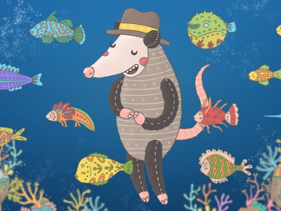 Chucho the opossum zamirbermeo animals illustration