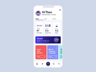 Health App Exploration typography iconography responsive icons illustration branding ux ui health app running fitness app heart