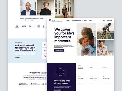 AICPA Web Design minimal parallax responsive insurance icons illustration branding ux website design ui