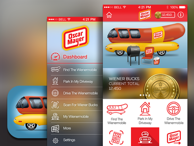 Oscar Mayer Wienermobile App ios app ux design icon app ui