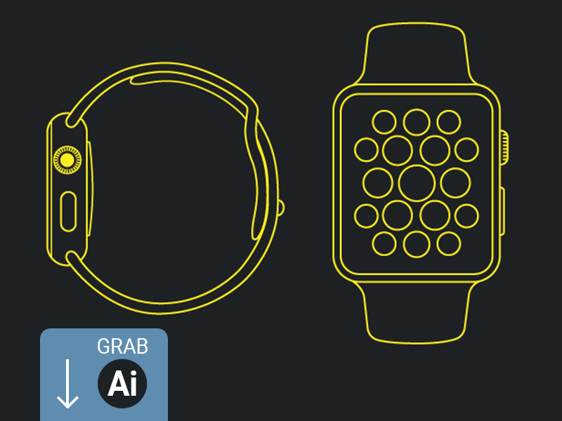 Apple Watch - Line Mockup ux ui website mockup buttons smartwatch ai icons free design illustration apple watch