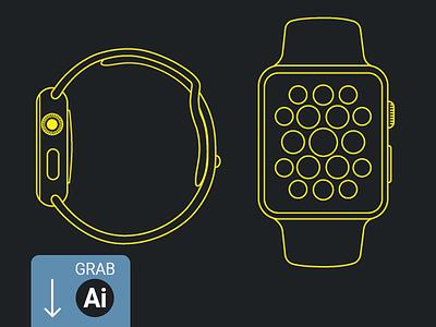 Apple Watch - Line Mockup ux ui website mockup buttons smartwatch ai icons free design illustration apple watch
