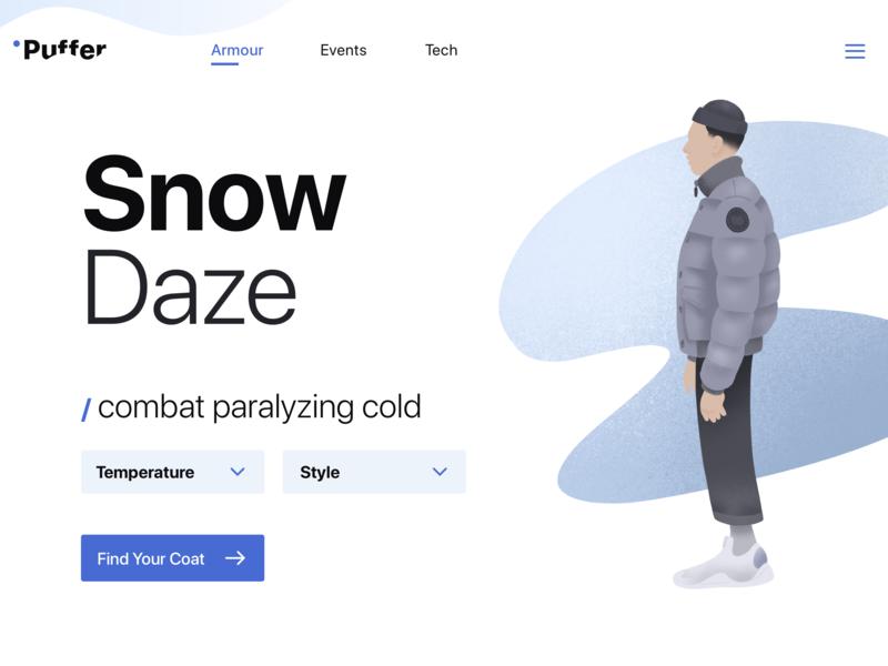 Landing Page - Puffer / Snow Daze parallax illustration icons logo branding website design ux ui landing page