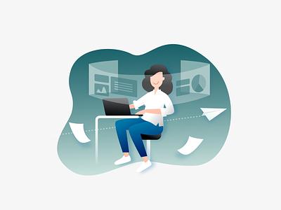 Illustration Work airplane strategies desktop working process office design team infographic illustration