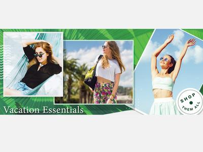 Fashion Banner Design- Vacation Essentails