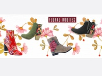 Fashion banner design  - floral booties