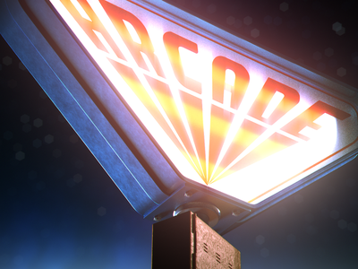 Arcade neon retro season 2 stranger things photoshop after effects design maxon cinema 4d c4d 3d