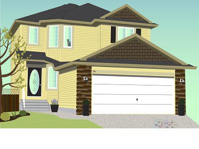 Digital House Illustration illustrator print design colors house digital illustration illustration graphic design