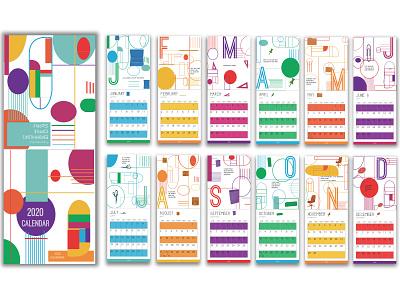 2020 Calendar Design analogous modern colors design graphic design print design calendar