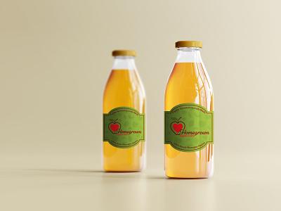 Homegrown Apple Juice Label design branding illustration vector bottle drink apple label colors graphic design logo