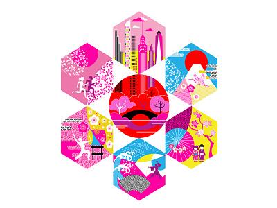 Japan Day @ Central Park. music activity graphic illustration graphic artist lifestyle urban life event new york city japanese japanese art festival culture japan poster adobe illustrator vector design portfolio illustration graphic design