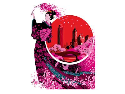 The Bridge of Sakura Blossom, Poster. graphic illustration graphic art women lifestyle urban life new york city kimono japanese art japanese japan festival poster culture fashion adobe illustrator vector design portfolio illustration graphic design