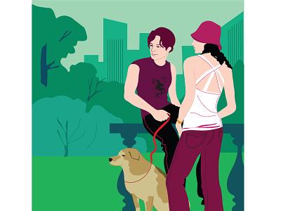 Town & Country graphic artist graphic illustrator adobe photoshop dog pets outdoor activity leisure park couple urban vectorart millenials urban lifestyle fashion adobe illustrator vector design portfolio illustration graphic design