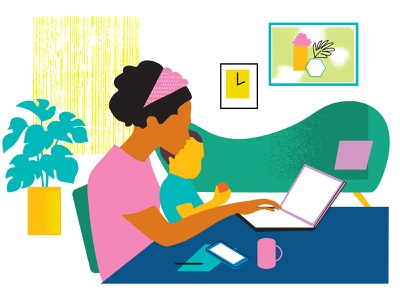 Tampa Bay surfing online working female working mom family leave childcare infant remote working working from home mom illustration portfolio fashion adobe illustrator vector design portfolio illustration graphic design