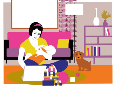 Town & Country graphic art babysitting daycare family care child working female surfing online childcare infant maternity leave remote job working mom mom adobe illustrator vector design portfolio illustration graphic design