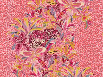 Safari Rainforest, Cashmere Scarf scarves shop fashionaccesories patterns textiledesign artlicensing vectorart adobe portfolio apparel surface designer surface design textile fashion adobe illustrator design vector portfolio illustration branding graphic design