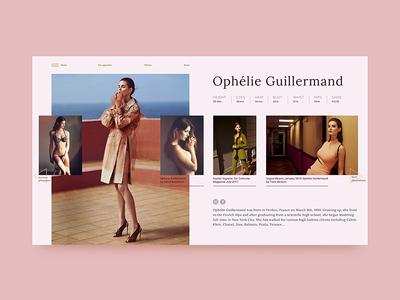 Fashion Profile Portfolio - Ophélie Guillermand Model Page